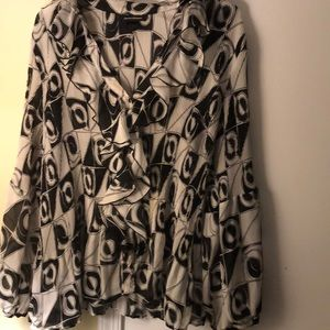 Black and white dress button down blouse,Size 18.